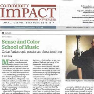 Feature article in the Cedar Park Community Impact newspaper, 2013